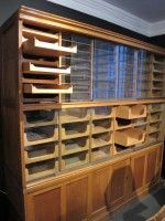 English Harris & Sheldon 1930's oak shop fitting display unit, europeanantiques.co.nz