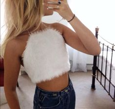 Super cute white faux fur fluffy crop top size by Fruitsaladetsy