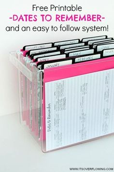 Organizational Printables Organizational Printables - Dates to Remember System of organizing Birthday Cards and more including a Free Printable via Its Overflowing Organisation Hacks, Organizing Paperwork, Household Organization, Home Office Organization, Paper Organization, Filing Cabinet Organization, Project Life Organization, Receipt Organization, Household Binder