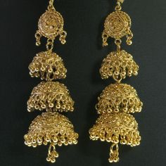 India Trend eBay | Details about Traditional Indian Gold Plated Three Jhumki Long ...