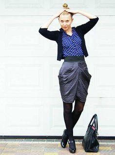 skirt, blouse, cardi