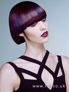 2016 Very blunt bob with heavy fringe and blue and purple blended colour
