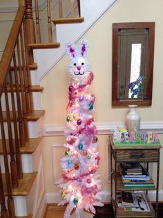 Easter tree with decorations from a dollar store. Easter tree with decorations from a dollar store. Easter Tree, Easter Wreaths, Easter Bunny, Easter Table Decorations, Easter Decor, Easter Ideas, Holiday Tree, Christmas Trees, Holiday Decor