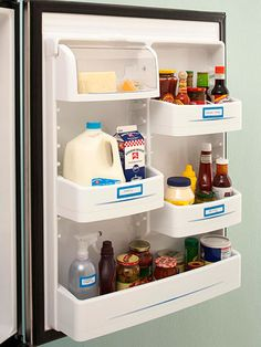 With naturally occurring preservatives, condiments can handle a refrigerator door's changing temperatures. Incorporate a labeling system, organize items by type, and place a label on the outside of the refrigerator door shelf to indicate what goes where.