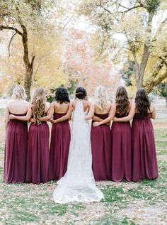 Pretty berry fall bridesmaid dresses: http://www.stylemepretty.com/2016/03/01/fall-rustic-chic-backyard-wedding/ | Photography: Mariel Hannah - http://www.marielhannahphoto.com/