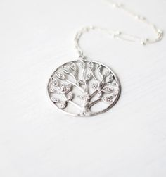 193 Silver Tree of Life Necklace with by LustreModernJewelry, $35.00