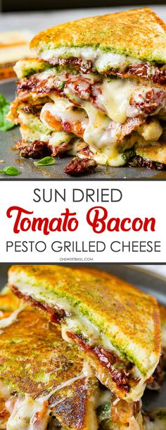 Sun Dried Tomato Bacon Pesto Grilled cheese, herby pesto, layered with Tillamook Cheese, sun-dried tomatoes, crisp bacon and then topped wi. Sandwich Bar, Pesto Sandwich, Soup And Sandwich, Grilled Sandwich Ideas, Cubano Sandwich, Grilling Recipes, Lunch Recipes, Breakfast Recipes, Cooking Recipes