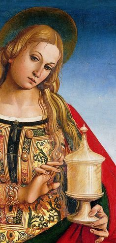 It's About Time: Luca Signorelli detail, Mary Magdalene Need to check date - but different version of an RFD - note long opening, layered over another dress Renaissance Kunst, Renaissance Paintings, Italian Renaissance, Noli Me Tangere, Mary Magdalene, Italian Painters, Ludwig, Catholic Saints, Caravaggio