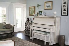 white painted piano...