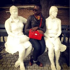 Lupita Nyong'o A world in black and white. And of course red. NOLA City Park Sculpture Garden.