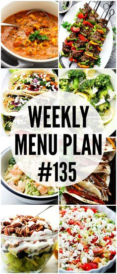 WEEKLY MENU PLAN ( - A delicious collection of dinner, side dish and dessert recipes to help you plan your weekly menu and make life easier for you! Weekly Meal Plan Family, Weekly Dinner Menu, Weekly Menu Planning, Family Meal Planning, Family Meals, Meal Planing, Weekly Meals, Group Meals, Easy Delicious Recipes