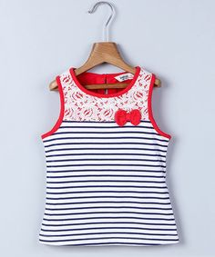 Another great find on #zulily! Red Lace Yoke & Navy Stripe Bow Tank - Infant, Toddler & Girls #zulilyfinds