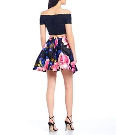 Shop For Jodi Kristopher Solid Top With Floral Print Skirt