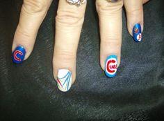 Chicago Cubs Nails Chicago Cubs Fans, Chicago Cubs Baseball, Baseball Nail Art, Fancy Nails, Beautiful Nail Art, Mani Pedi, Cubbies, Hair And Nails