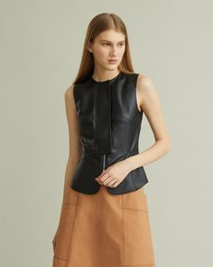 Tailored leatherette top with semi-concealed two-way zipper closure and scalloped peplum. Retail Concepts, Cool Suits, Apothecary, Designing Women, High Waisted Skirt, Peplum, Closure, Zipper