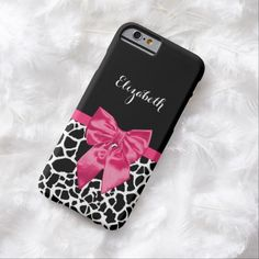 A girly slim #iPhone6case with a trendy black and white giraffe pattern and a stylish hot pink ribbon tied into a cute bow. This chic animal print design can be personalized by adding the name of your teen girl. Flat printed image, not actual bow.