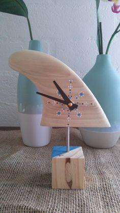 Handcrafted wooden surfboard fin clock