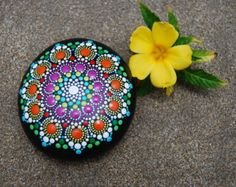 Hand Painted Mandala Stone/ Big Mandala/ Wedding by Mandalaole