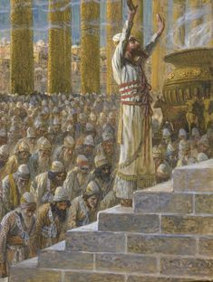 King Solomon dedicates the Temple at Jerusalem with followers (painting by James Jacques Joseph Tissot (French, 1836–1902).