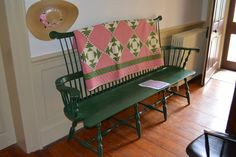 Repro Quilt Lover - pink and green antique quilt on antique bench.