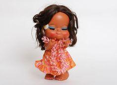 Vintage 60s 70s MOD Hawaiian Hula Girl Doll by twinheartsvintage, $68.00
