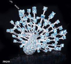 6x5cm Blue Shining Trendy Peacock Spread Paved Crystal Lady Pin Brooch Rhinestone  #eozy