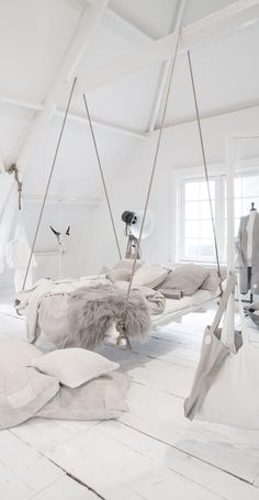 Incredible hanging bed idea in an all white bedroom with lots of cozy blankets and pillows. 54 Cheap Home Decor Ideas You Will Want To Try – Incredible hanging bed idea in an all white bedroom with lots of cozy blankets and pillows. All White Bedroom, White Bedding, Small Girls Bedrooms, White Bedrooms, Teen Bedrooms, Bedroom Girls, Modern Bedrooms, Master Bedrooms, Master Suite