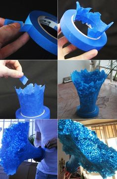 Photo | マスキングテープで3D造形する方法 | GIANT SCOTCHBLUE TAPE FLOWER SCU… | Flickr Fun Crafts, Diy And Crafts, Arts And Crafts, Paper Crafts, Creative Crafts, Clay Crafts, 3d Paper, Instalation Art, Art Plastique