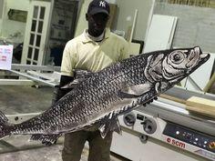 Pesce inciso a laser su multistrato, post produzione a cura di Laye LegnoKreator Fish, Pisces
