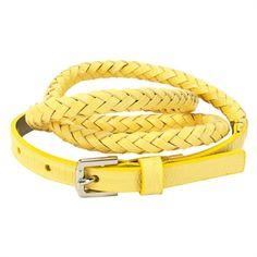 Calvin Klein Thin Tubular Braided Belt #VonMaur #CalvinKlein #Yellow