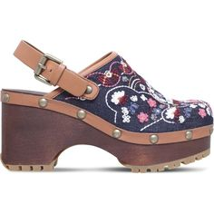 See By Chloe Tasha embroidered denim slingback clogs (19,005 PHP) ❤ liked on Polyvore featuring shoes, clogs, bohemian shoes, high heel shoes, clog shoes, floral-print shoes and floral high heel shoes