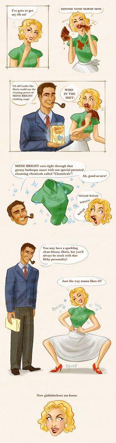 Retro Housewife Doris comic pokes fun. By Emmy Cicierega.