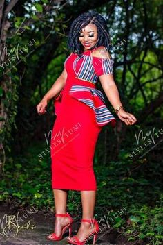 High Waisted Full Flare Dress – Styles By Tumi African Party Dresses, African Wedding Attire, Latest African Fashion Dresses, African Attire, African Outfits, Venda Traditional Attire, Traditional Wedding Attire, Traditional Outfits, African Print Skirt