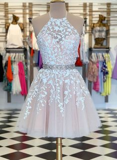 A-Linie Pink Applique Short Prom Kleid Heimkehr Kleid A-line Pink Applique Kurzes Abendkleid Homecoming Dress – selinadress Champagne Homecoming Dresses, Cute Prom Dresses, Event Dresses, Sexy Dresses, Summer Dresses, Dress Prom, Wedding Dresses, Short Homecoming Dresses, Pretty Dresses For Teens