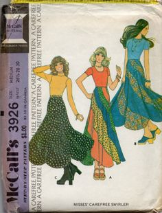 McCalls 3926 1970s Misses Swirl Skirt  Pattern  Womens  vintage sewing pattern by mbchills,
