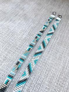 Set of Two Turquoise Miyuki Bracelet / Beaded Bracelet / Miyuki Beads / Miyuki Bead Bracelet / Chevron / Turquoise and Grey / Miyuki Delica - Bracelets Tutorials Loom Bracelet Patterns, Bead Loom Bracelets, Bead Loom Patterns, Beaded Jewelry Patterns, Seed Bead Jewelry, Bead Jewellery, Bracelet Chevron, Turquoise Bracelet, Bead Loom Designs