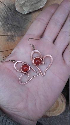 Sweet heart wire wrapped earringsLove earringsWire