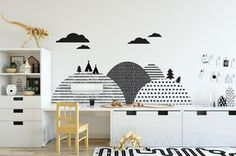 child room Let's create a very special scenery behind your little one's bed by adding this beautiful wall sticker with simple and modern patterns. The monochrome Scandinavian hills will loo Kids Wall Decals, Nursery Wall Decals, Sticker Mural, Wall Stickers Uk, Wall Mural, Baby Bedroom, Girls Bedroom, Baby Zimmer Ikea, Kids Room Design