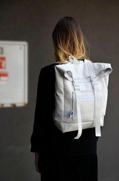 White Unisex Leather Backpack