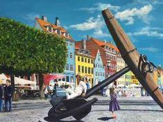 Kunstsamlingen | Artist: Jan Schuler | Title: To søstre ved ankeret i Nyhavn | Height: 65cm,  Width: 92cm | Find it at kunstsamlingen.com  #kunstsamlingen #kunst #artcollection #art #painting #maleri #galleri #gallery #onlinegallery #onlinegalleri #kunstner #artist #danishartists #janschuler #galleriexpo
