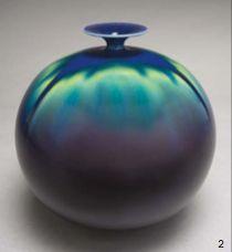 """ROUND VASE WITH FLARED RIM TOKUDA YASOKICHI III 8 1/2"""" x 7 1/2"""" Kutani Glazed Porcelain"""