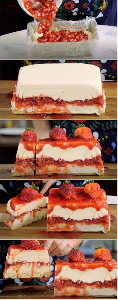 Torta Gelada de Morango e Chocolate Branco, CREMOSONA DELICIOSA! (veja a receita passo a passo) #torta #tortacremosa #tortagelada #tortademorango #tortadechocolatebranco #tastemade