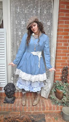 Prairie Style Demim and Lace Dress Romantic by BerthaLouiseDesigns