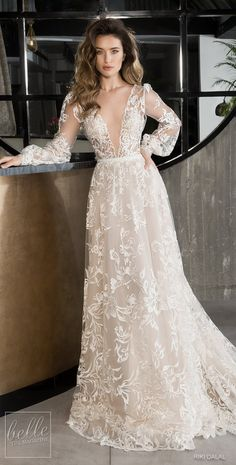 Riki Dalal Wedding Dresses Spring Glamour Bridal Collection features impossible glamour and divine sophistication in the form of bridal couture. riki dalal wedding dresses 2019 a line deep v neckline with long sleeves floral lace We offer you the newest c Western Wedding Dresses, Dream Wedding Dresses, Bridal Dresses, Boho Wedding, Wedding Gowns, Lace Dresses, Attire For Wedding, Spring Wedding, Wedding Bride