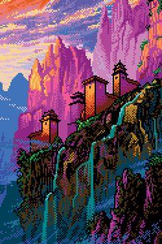 WIP of my new fan art piece. Pixel Art Gif, Cool Pixel Art, Pixel Art Games, Cool Art, Pixel Drawing, Vaporwave Wallpaper, Pixel Art Background, Retro Background, 8 Bit Art