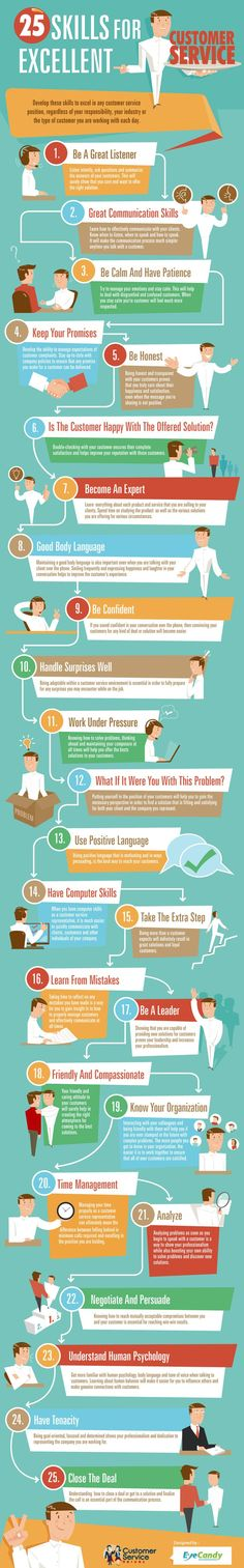 25 skills for excellent customer service #work #competence