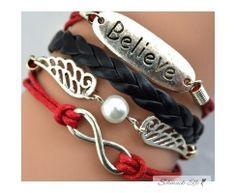 Armband Believe & Infinity rot  schwarz   im Organza Beutel