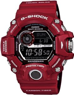 G-Shock celebrates real hero colors with the Men in Red collection. Two new G-Shock Master of G – Man in Red watches include the Mudman and the Rangeman – both in vibrant red cases that are larger than Casio G Shock Watches, Timex Watches, Sport Watches, Cool Watches, Watches For Men, Unique Watches, Affordable Watches, Stylish Watches, Men's Watches