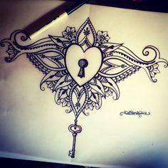 Locked heart sternum tattoo design