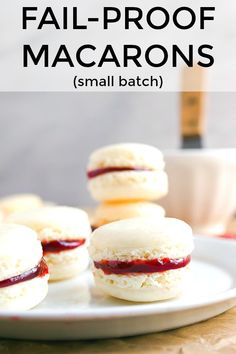 This no fail French macaron recipe has a secret ingredient that guarantees success. It stabilizes the eggs and helps prevent under or over beating! This is the only macaron recipe I've ever had work, every time! French Macaroon Recipes, French Macaroons, Mini Desserts, Just Desserts, Delicious Desserts, Plated Desserts, Cupcakes, Cupcake Cakes, Cookie Recipes
